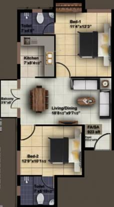 ICIPL Acrospire (2BHK+2T (923 sq ft) Apartment 923 sq ft)