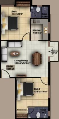 ICIPL Acrospire (2BHK+2T (1,041 sq ft) Apartment 1041 sq ft)