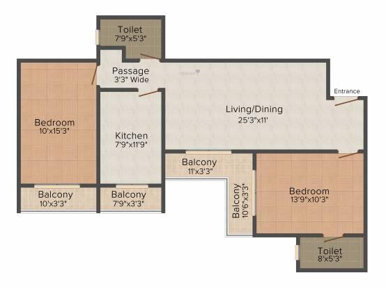 S Raheja SDS Raheja Residency (2BHK+2T (1,175 sq ft) Apartment 1175 sq ft)