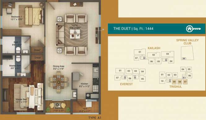 LEPL The Residences At Mid Valley City (2BHK+2T (1,444 sq ft) Apartment 1444 sq ft)