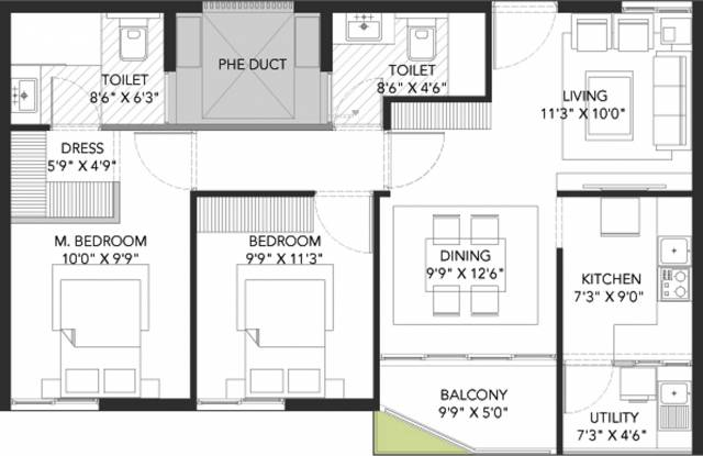 Grand Capitol (2BHK+2T (1,076 sq ft) Apartment 1076 sq ft)