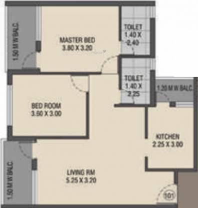 Raj Raj Ryle Residency (2BHK+2T (990 sq ft) Apartment 990 sq ft)