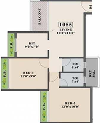 Tricity Promenade (2BHK+2T (1,055 sq ft) Apartment 1055 sq ft)