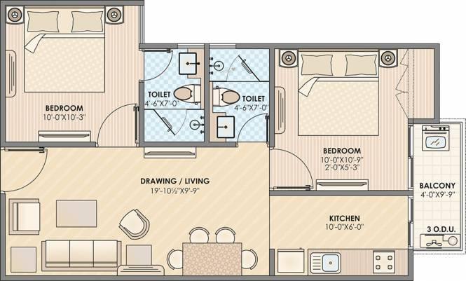 Anukampa Sky Lounges (2BHK+2T (852 sq ft) Apartment 852 sq ft)