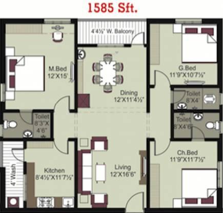Pavan Bankers Pride And Pavan Kesavs Pride (3BHK+3T (1,585 sq ft) Apartment 1585 sq ft)