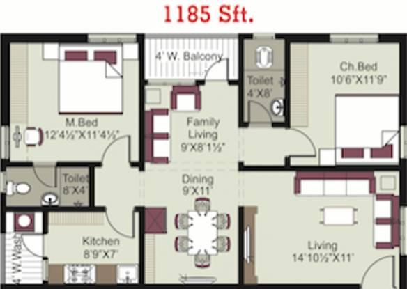 Pavan Bankers Pride And Pavan Kesavs Pride (2BHK+2T (1,185 sq ft) Apartment 1185 sq ft)