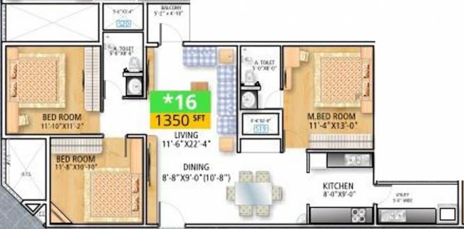 Soundarya Paradise (3BHK+2T (1,350 sq ft) Apartment 1350 sq ft)