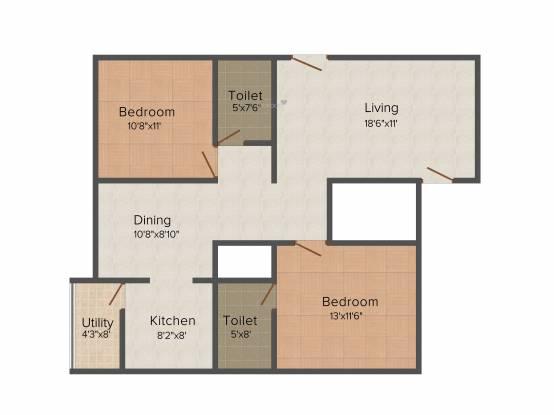 Soundarya Kamakshi (2BHK+2T (1,120 sq ft) Apartment 1120 sq ft)