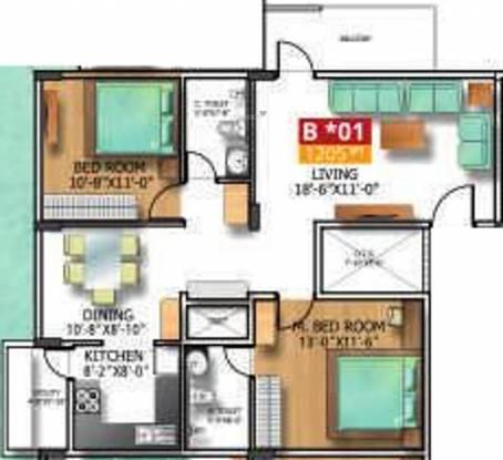 Soundarya Kamakshi (2BHK+2T (1,205 sq ft) Apartment 1205 sq ft)