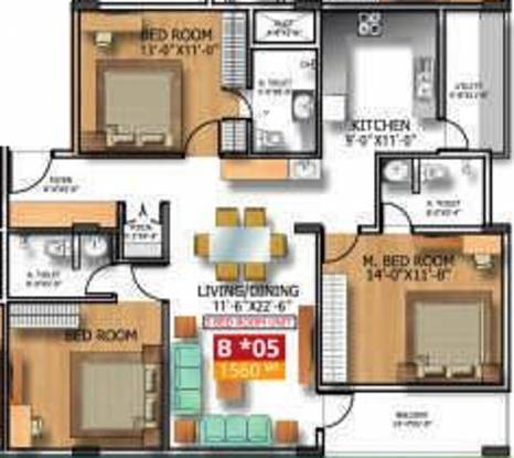 Soundarya Kamakshi (3BHK+3T (1,560 sq ft) Apartment 1560 sq ft)