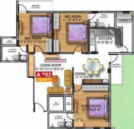 Soundarya Kamakshi (3BHK+3T (1,590 sq ft) Apartment 1590 sq ft)
