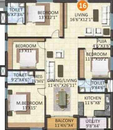 Sahiti Sudheshna Alpine Heights (4BHK+3T (2,215 sq ft) + Pooja Room Apartment 2215 sq ft)