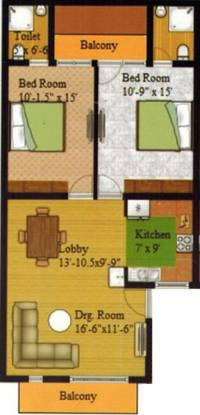 Aman Affordable Luxury1 (2BHK+2T (900 sq ft) Apartment 900 sq ft)