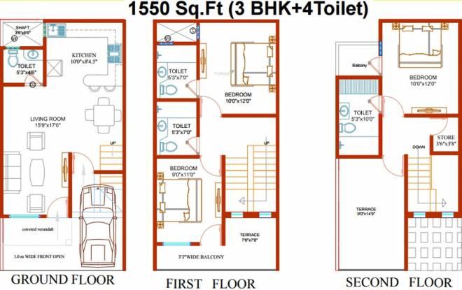 Renowned Lotus Sristhi (3BHK+4T (1,550 sq ft) Villa 1550 sq ft)