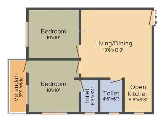 SK Royal Ashiana (2BHK+2T (710 sq ft) Apartment 710 sq ft)