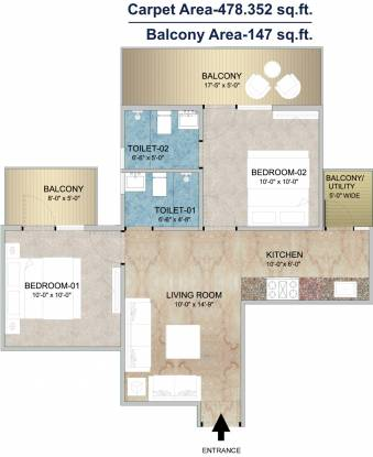 Adore Happy Homes Grand (2BHK+2T (478 sq ft) Apartment 478 sq ft)