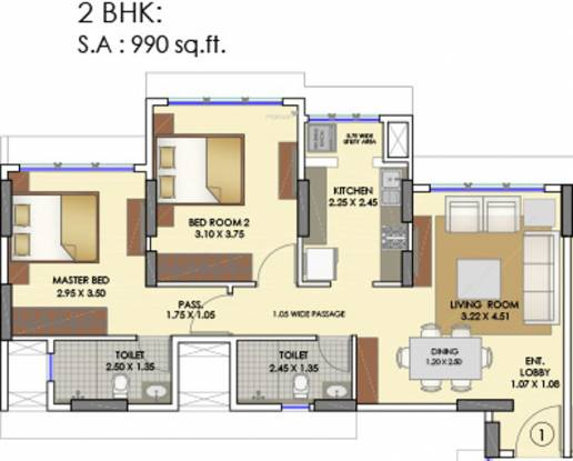 Runwal Elina (2BHK+2T (751.75 sq ft) Apartment 751.75 sq ft)