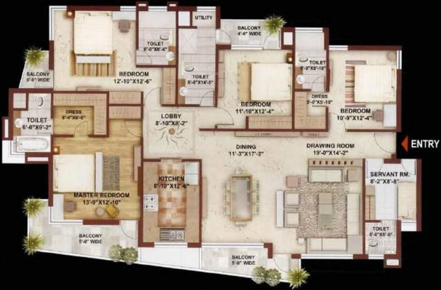 Sunshine Heights (4BHK+4T (2,745 sq ft) + Servant Room Apartment 2745 sq ft)