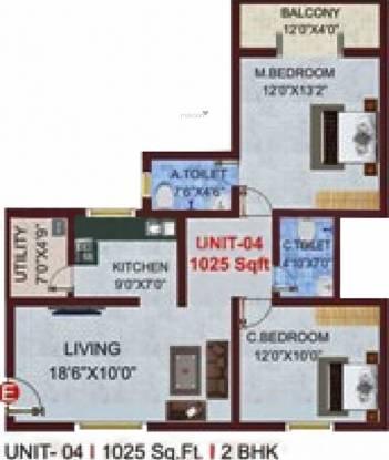 Sree Sai Bajaji Developers SSB Royale (2BHK+2T (1,025 sq ft) Apartment 1025 sq ft)