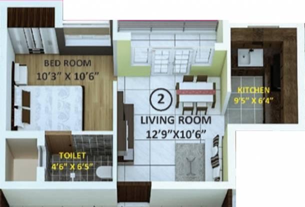Indira Primrose (1BHK+1T (535 sq ft) Apartment 535 sq ft)