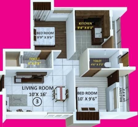 Indira Primrose (2BHK+2T (870 sq ft) Apartment 870 sq ft)