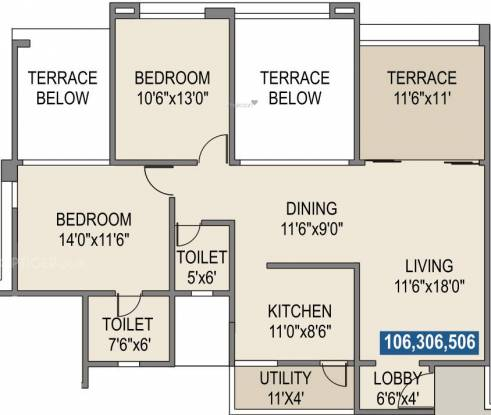 Rohan Tarang (2BHK+2T (1,146 sq ft) Apartment 1146 sq ft)