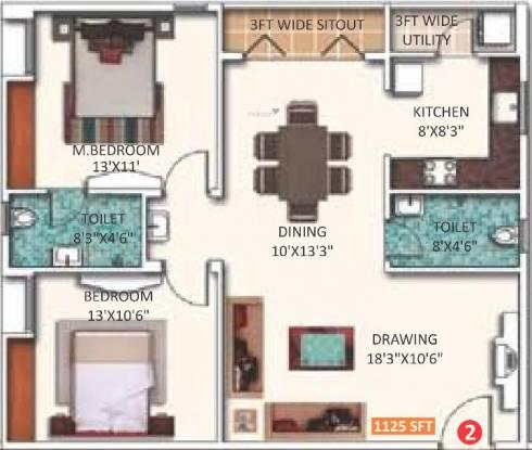 Saroj Dynasty (2BHK+2T (1,125 sq ft) Apartment 1125 sq ft)
