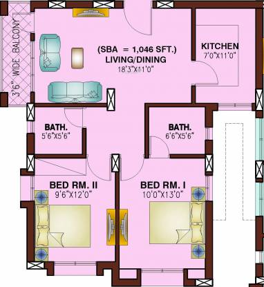 Dream Home Orchid Residency (2BHK+2T (1,046 sq ft) Apartment 1046 sq ft)