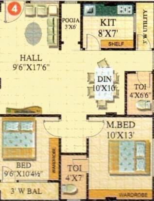 Lahari Satyam Heights (2BHK+2T (1,000 sq ft) + Pooja Room Apartment 1000 sq ft)