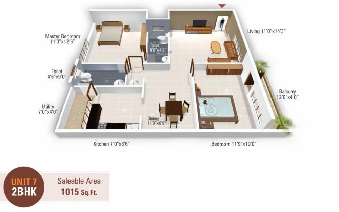5 Elements Temple Bells Premier (2BHK+2T (1,015 sq ft) Apartment 1015 sq ft)