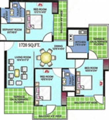 BDI Gulmohar Apartments (3BHK+3T (1,720 sq ft) + Servant Room Apartment 1720 sq ft)
