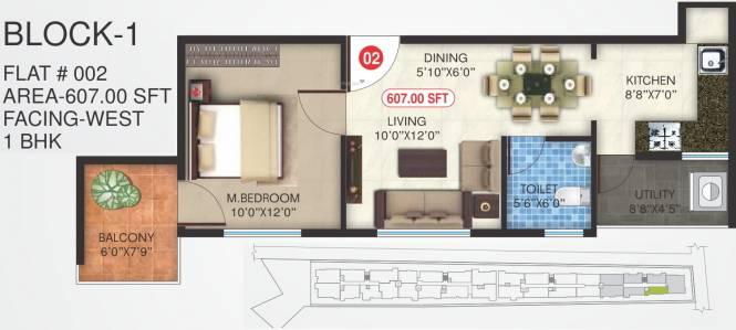 Uniidus Breeze (1BHK+1T (607 sq ft) Apartment 607 sq ft)