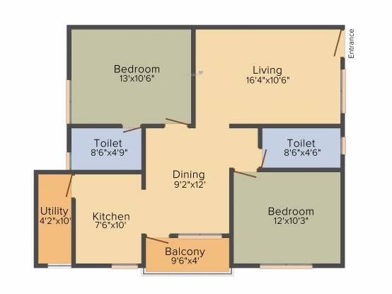 Star AR Splendor Park (2BHK+2T (1,093 sq ft) Apartment 1093 sq ft)