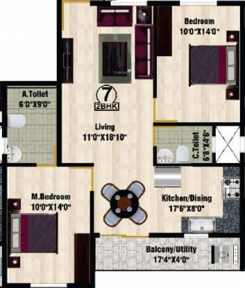 DS DSMAX SHRINE (2BHK+2T (1,189 sq ft) Apartment 1189 sq ft)