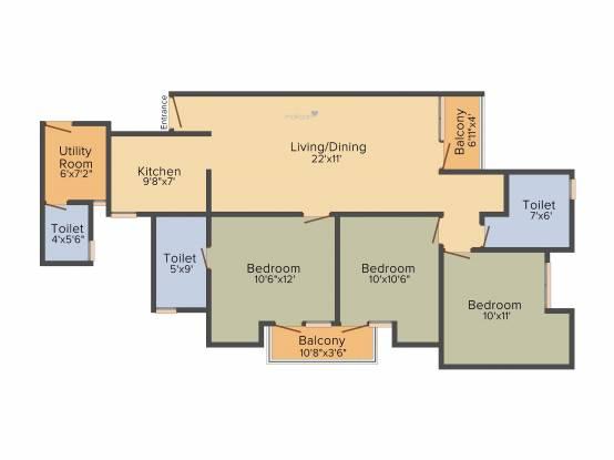 Jaypee Kosmos (3BHK+2T (1,280 sq ft)   Servant Room Apartment 1280 sq ft)