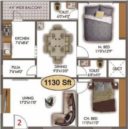 Vishwanadh Vishwanadh Avenues (2BHK+2T (1,130 sq ft) + Pooja Room Apartment 1130 sq ft)