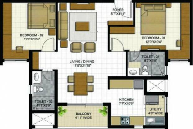 ETA Verde (2BHK+2T (950 sq ft) Apartment 950 sq ft)