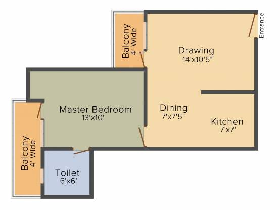 CSSOS Officers Enclave II (1BHK+1T (610 sq ft) Apartment 610 sq ft)