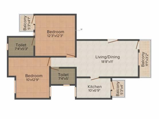 Unitech Unihomes (2BHK+2T (953 sq ft) Apartment 953 sq ft)