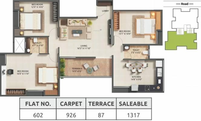 Gokhale Ram Kanta (3BHK+2T (1,317 sq ft) Apartment 1317 sq ft)