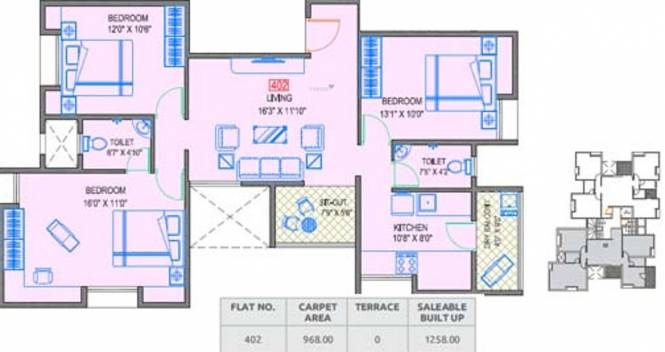 Gokhale Ram Kanta (3BHK+2T (1,258 sq ft) Apartment 1258 sq ft)
