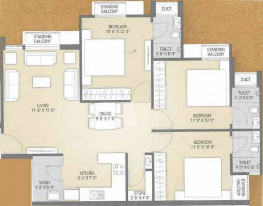 Flora Ixora (3BHK+3T (1,440 sq ft) Apartment 1440 sq ft)