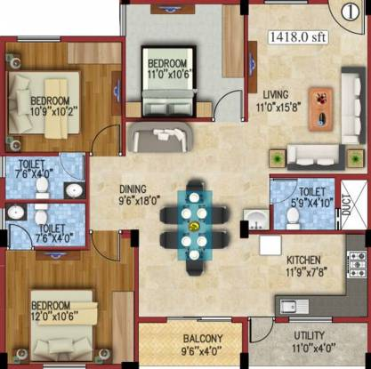 JS Carnation (3BHK+2T (1,418 sq ft) Apartment 1418 sq ft)