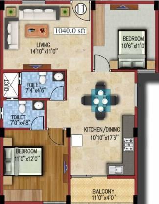 JS Carnation (2BHK+2T (1,040 sq ft) Apartment 1040 sq ft)