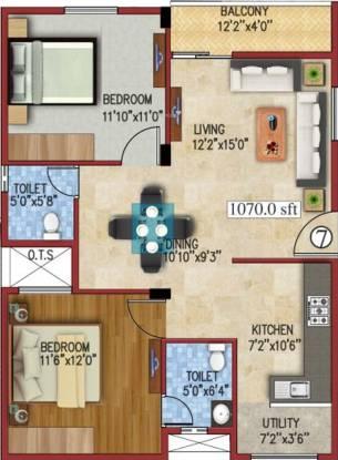 JS Carnation (2BHK+2T (1,070 sq ft) Apartment 1070 sq ft)