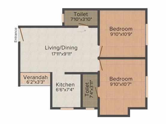 Eden Windsor Park (2BHK+2T (818 sq ft) Apartment 818 sq ft)