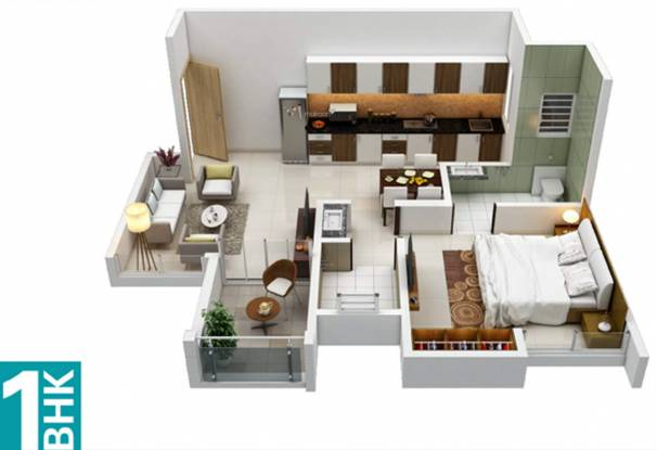 Kohinoor Tinsel County (1BHK+1T (434 sq ft) Apartment 434 sq ft)