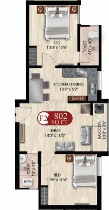 DAC Dac Nandhavanam (2BHK+2T (802 sq ft) Apartment 802 sq ft)
