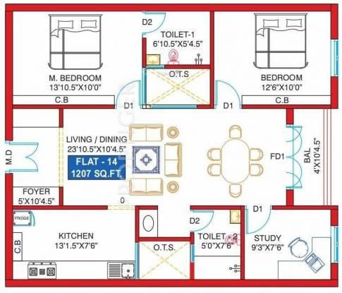 Anmol Abhinandhan (2BHK+2T (1,207 sq ft)   Study Room Apartment 1207 sq ft)