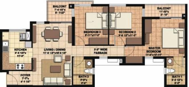 Akshaya Orlando (3BHK+2T (1,262 sq ft) Apartment 1262 sq ft)